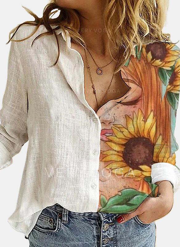 Nadruk słonecznika Lapel Długie rękawy Nieformalny Bluzki