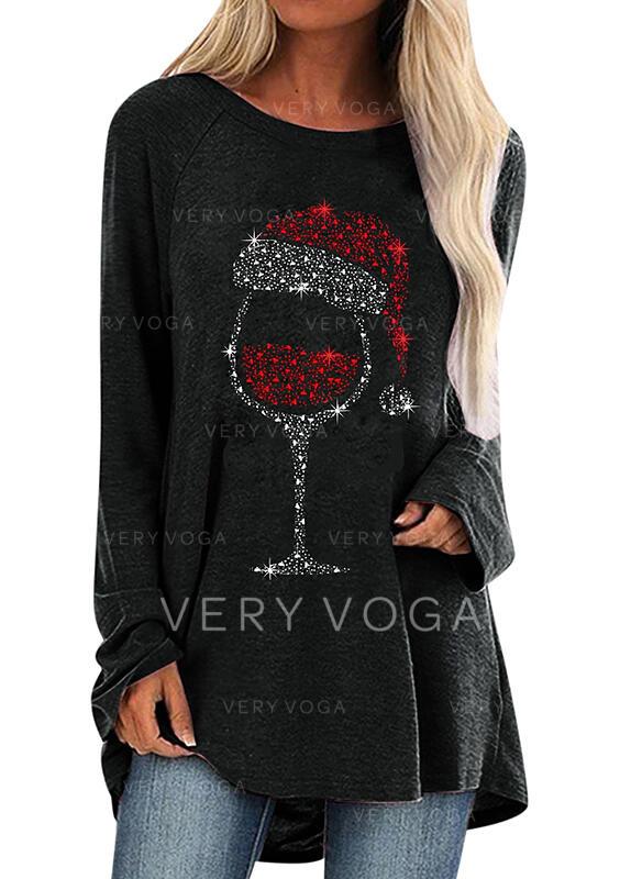 Pailletten Lange Ärmel Weihnachts-Sweatshirt