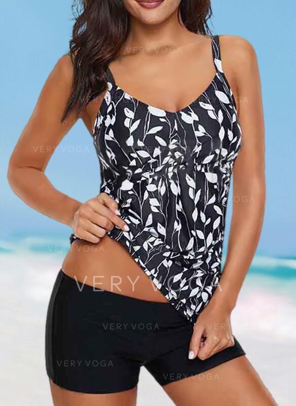 Leaves Print Strap V-Neck Elegant Fashionable Tankinis Swimsuits