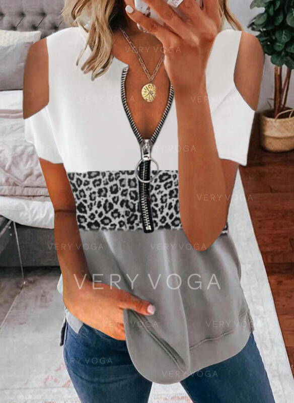 Kleurblok luipaard Cold Shoulder Korte Mouwen Casual Overhemd