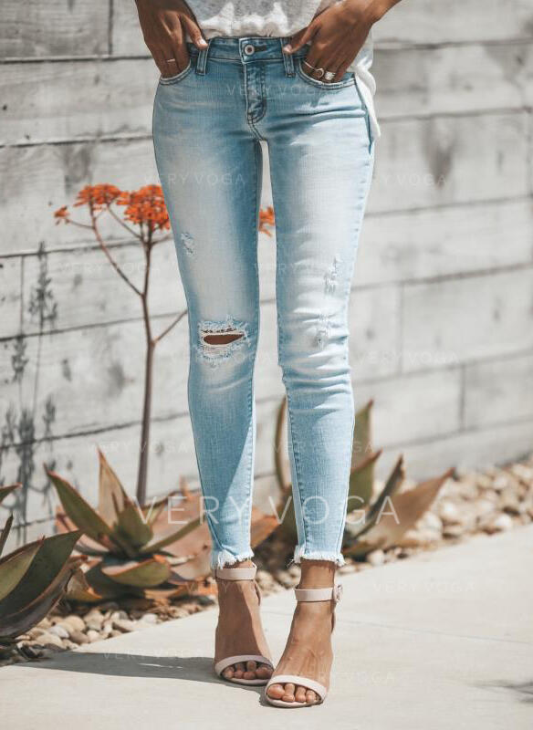Shirred Plus Size Ripped Long Elegant Sexy Denim & Jeans