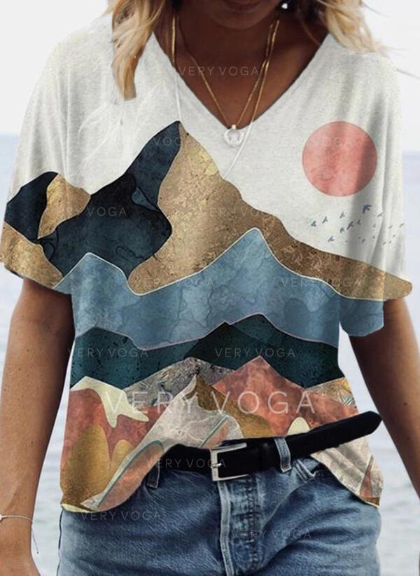 Estampado Decote em V Manga Curta Casual Camisetas