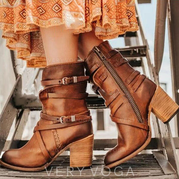 Női PU Chunky sarok Magassarkú Csizma -Val Csat Cipzár cipő