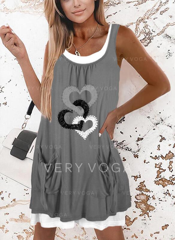 Print/Heart Sleeveless Shift Above Knee Casual Tank Dresses