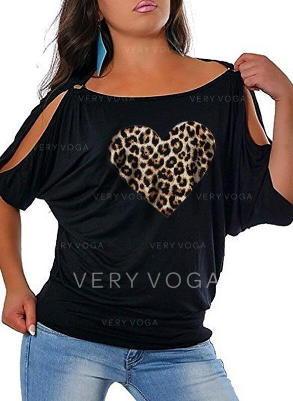 Print Leopard Heart Round Neck 1/2 Sleeves Casual Plus Size Blouses