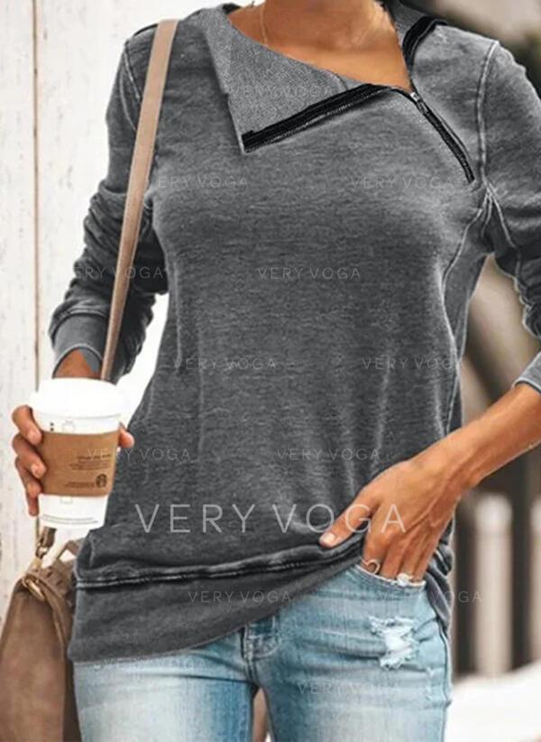 Solid Lapel Long Sleeves Sweatshirt