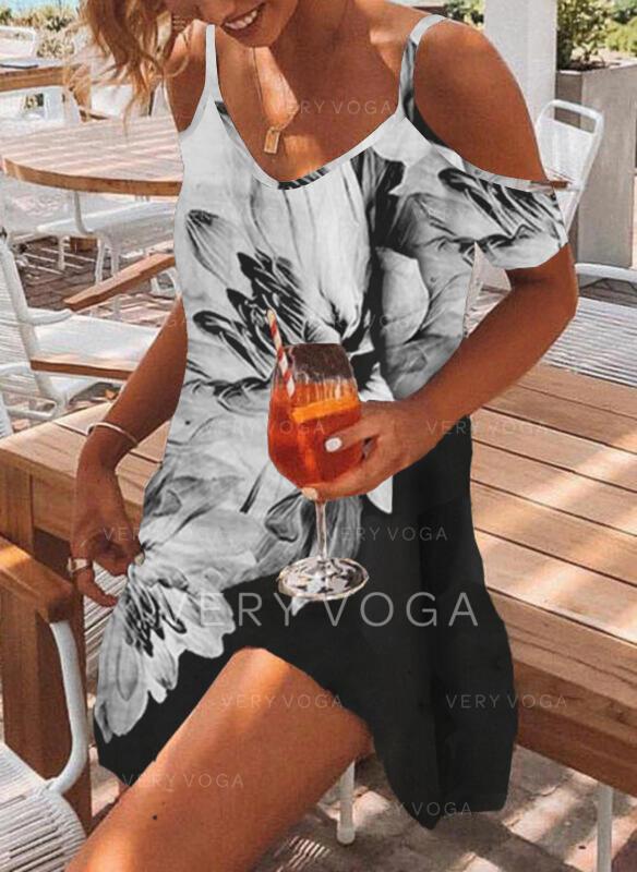 Tisk/Květiny/Color Block Krátké rukávy Šaty Shift Nad kolena Neformální Tunika Šaty