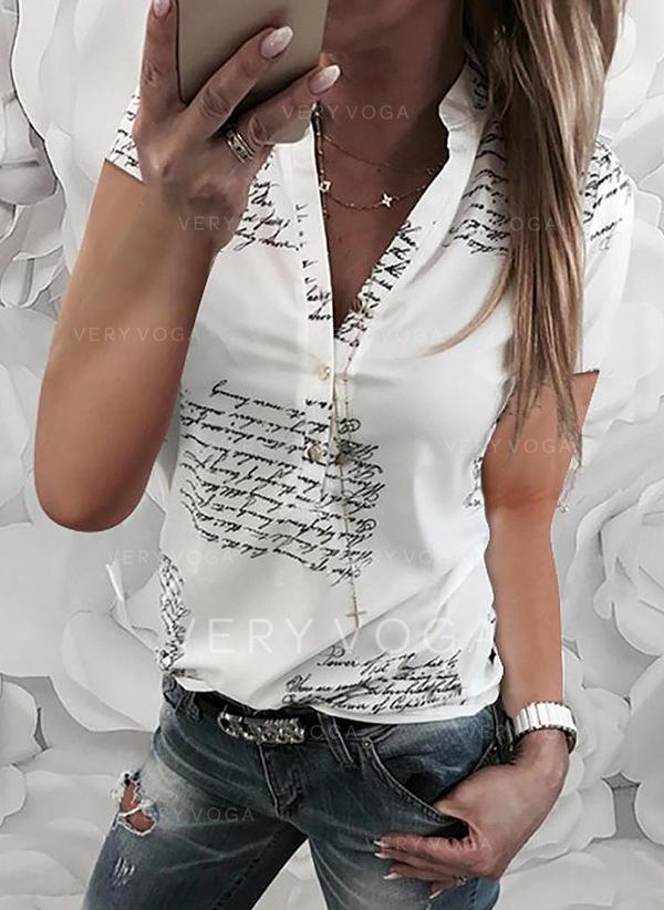 V-λαιμός Κοντά Μανίκια Χωρίς Κουμπιά Κολάρου Καθημερινό Μπλούζες Πουκάμισα