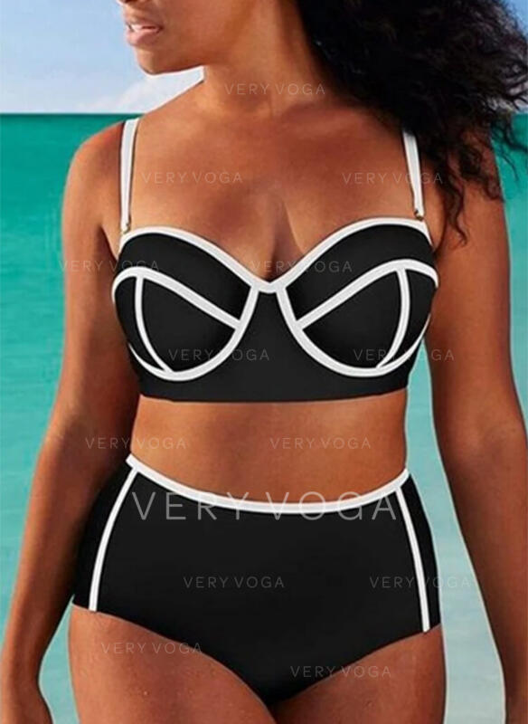 Solid Color High Waist Push Up Strap V-Neck Sexy Bikinis Swimsuits