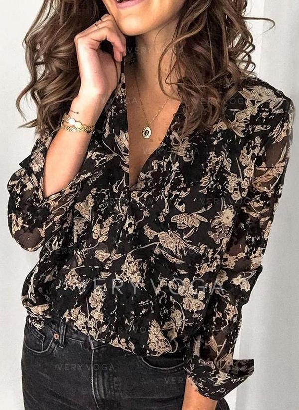 отворот Длинные рукова Кнопка вверх Повседневная Рубашка Блузки