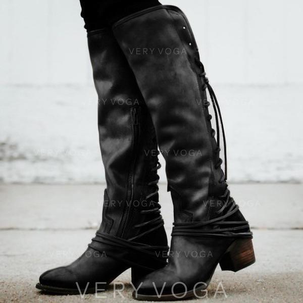 Vrouwen Suede Chunky Heel Pumps Knie Lengte Laarzen met Vastrijgen Gesplitste Stof schoenen