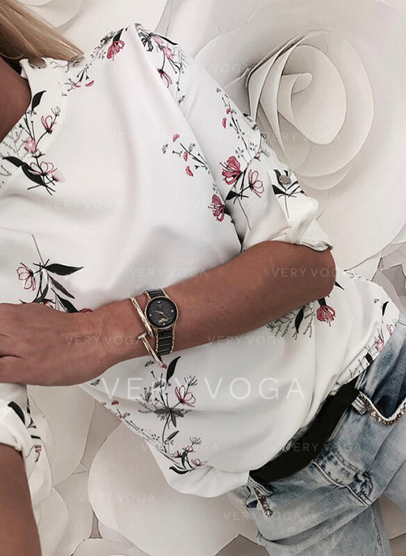 Tisk Květiny Kulatý Výstřih 1/2 rukávy Na Knoflíky Neformální Blůzy