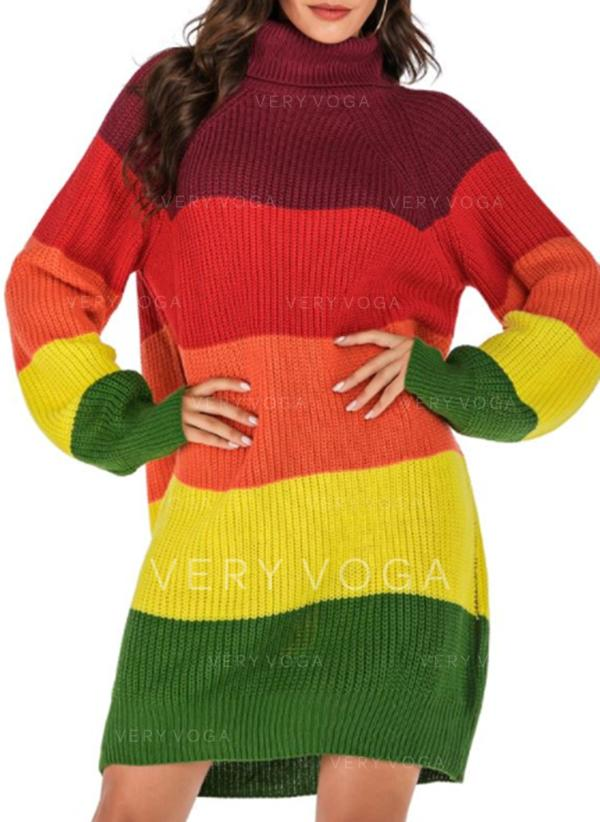 Color Block Stand Collar Sweater Dress