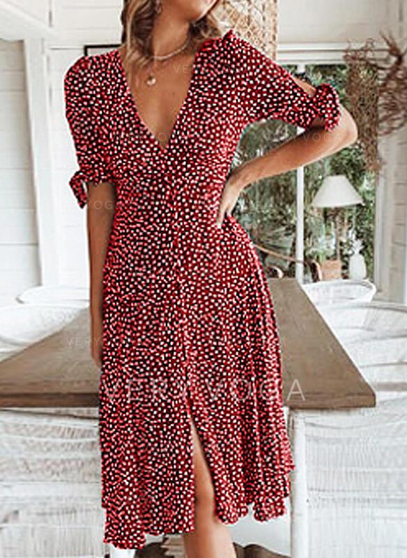 Print/PolkaDot 1/2 Sleeves A-line Knee Length Casual/Vacation Dresses