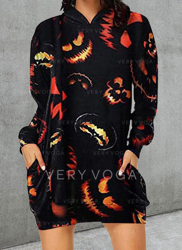 Halloween Tisk Dlouhé rukávy Splývavé Nad kolena Casual Tunika Rochii