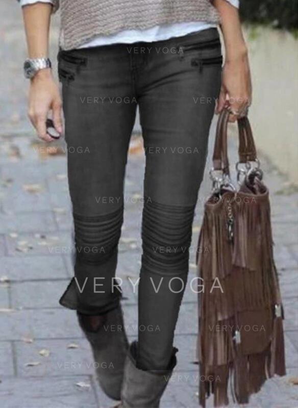 Einfarbig Baumwolle Lange Sexy Große Größen patch Hosen Denim Jeans
