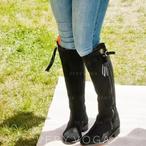 Women's Leatherette Chunky Heel Ankle Boots With Buckle Zipper Tassel shoes