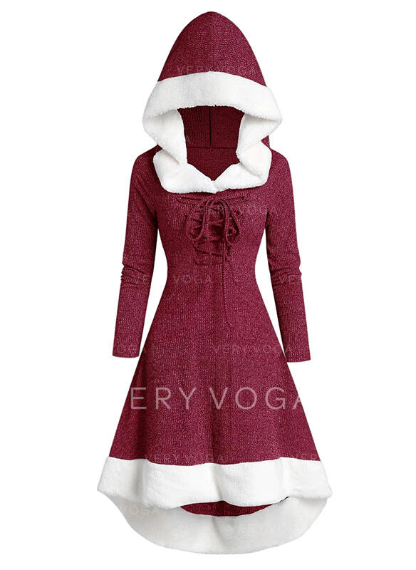 Color Block Long Sleeves A-line Knee Length Christmas/Casual Skater Dresses
