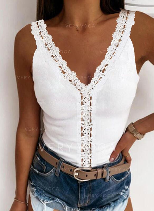 Encaje Sólido Cuello en V Sin mangas Camisetas sin mangas