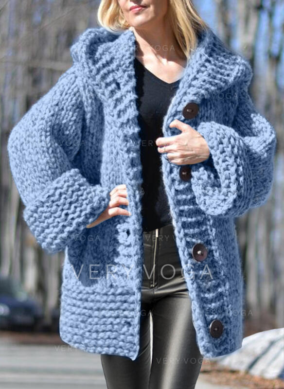 Solid Chunky knit Hooded Casual Cardigan