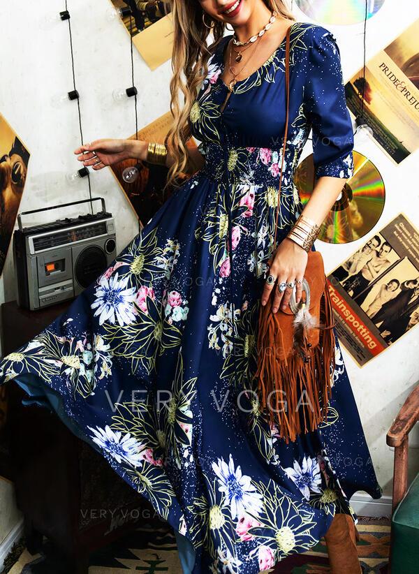 Impresión/Floral Mangas 1/2 Acampanado Patinador Elegante Maxi Vestidos