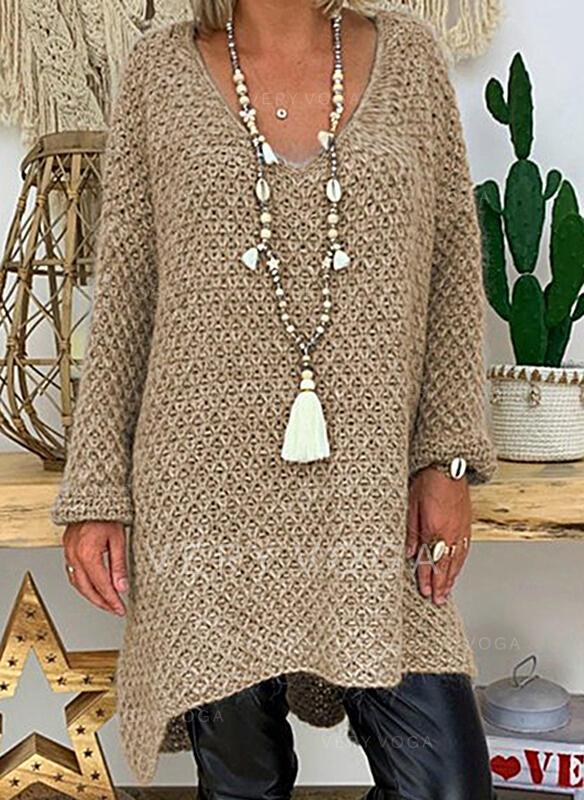 Sólido Cuello en V Casuales Vestido de Suéter