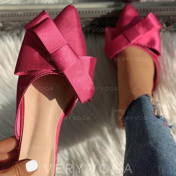 Women's Cloth Low Heel Sandals Closed Toe Slippers With Bowknot shoes