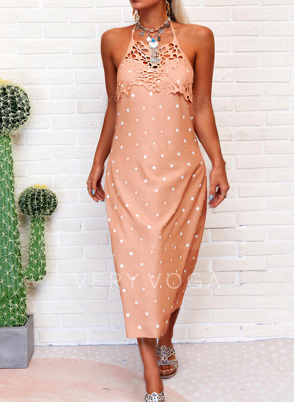 Lace/PolkaDot/Backless Sleeveless Shift Casual Midi Dresses