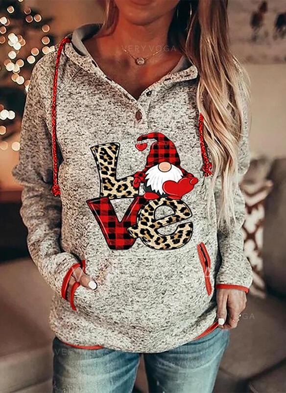 Impressão Grelha Leopardo Figura Bolsos Manga comprida Camisola de Natal