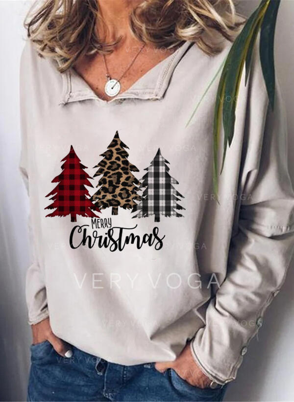 Print Leopard Figure V-Neck Long Sleeves Casual Christmas Blouses
