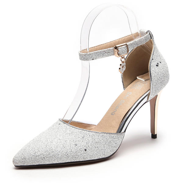 531d7e7aaea Women s Sparkling Glitter Stiletto Heel Closed Toe Pumps Sandals With Sequin