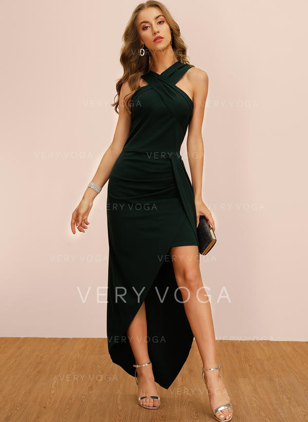 Solid Sleeveless Sheath Asymmetrical Party Dresses