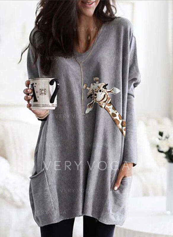 Animal Print V-Neck Long Sleeves Casual T-shirts