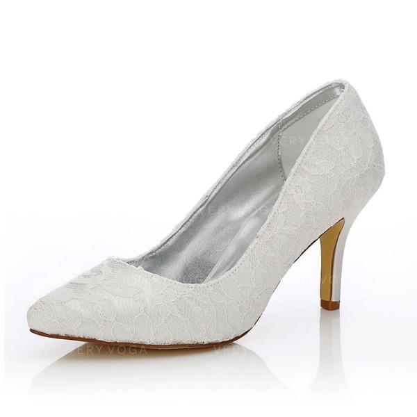 Frauen Spitze Satin Stöckel Absatz Geschlossene Zehe Absatzschuhe Färbbare Schuhe