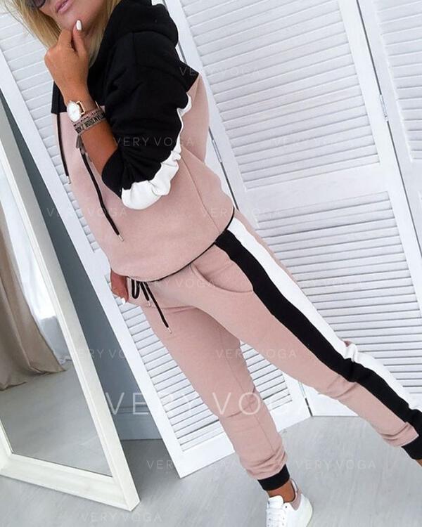 Cappuccio Maniche lunghe Color Block Set di top e pantaloni