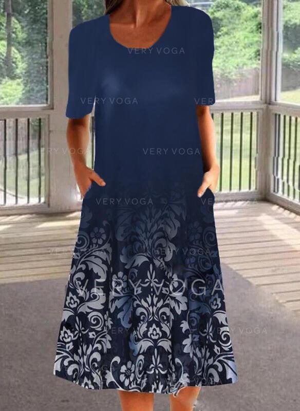 Imprimeu Mâneci la Jumătate Shift Elbiseleri Tunică gündelik Midi Elbiseler