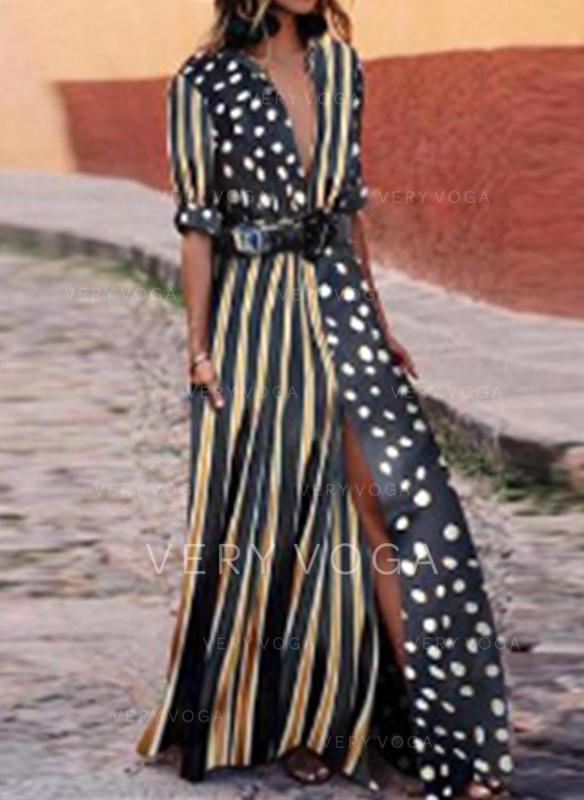 PolkaDot/Striped Long Sleeves A-line Maxi Casual/Vacation Dresses