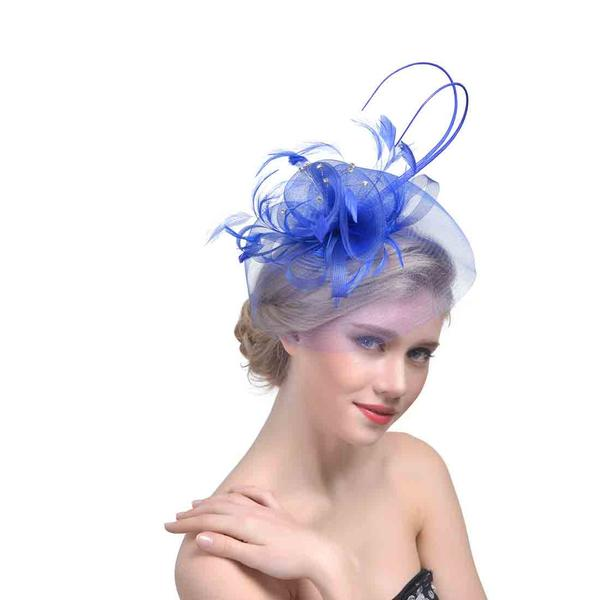 Ladies' Elegant Cambric With Feather Fascinators/Kentucky Derby Hats/Tea Party Hats