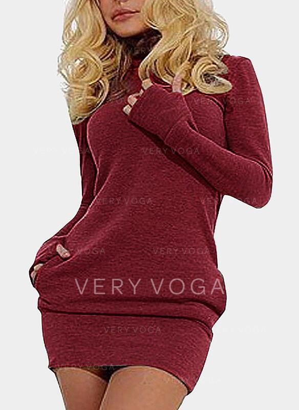 Solid Pocket Turtleneck High Neck Sweater Dress