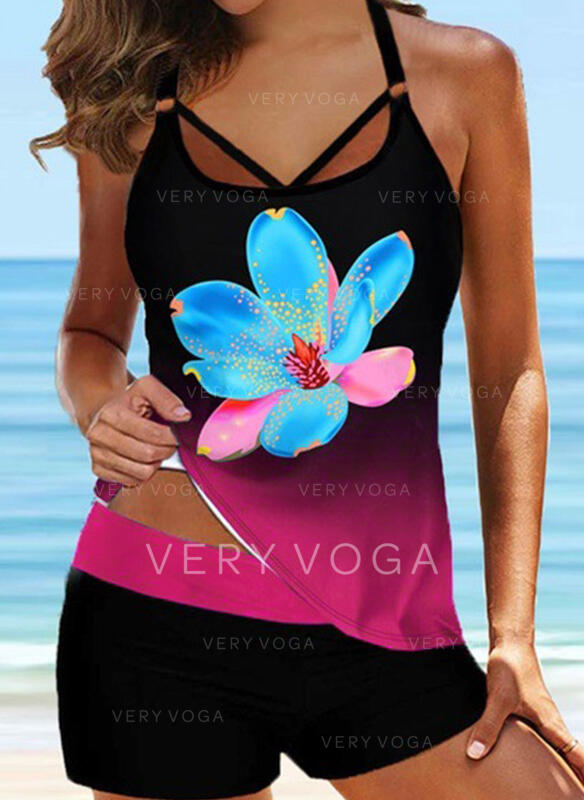 Floral Cross Strap V-Neck Sexy Sports Plus Size Tankinis Swimsuits