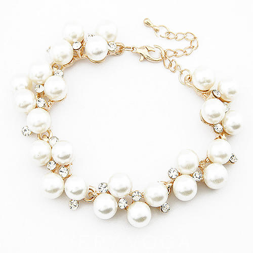 Unique Alloy Imitation Pearls With Rhinestone Ladies' Bracelets