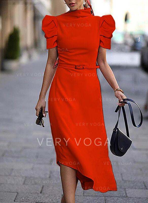Solid Mâneci Scurte/Mâneci Bufante Tip A-line Patenci Elegant Midi Elbiseler