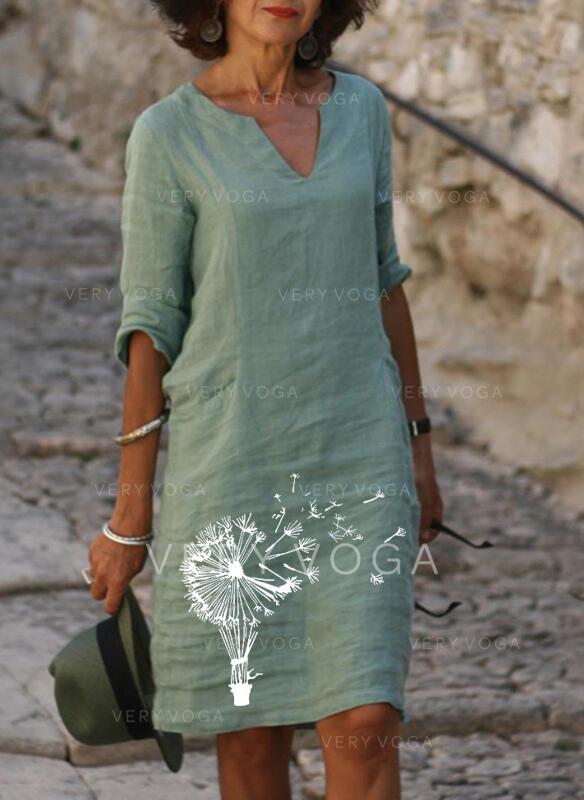 Imprimée Manches 1/2 Droite Au-dessus Du Genou Décontractée/Vacances Tunique Robes