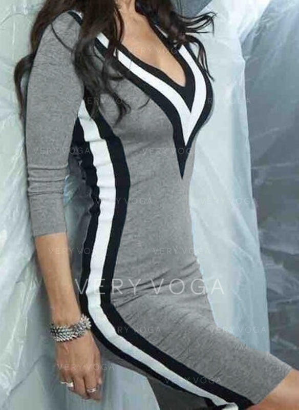 Striped 3/4 Sleeves Bodycon Knee Length Casual Dresses