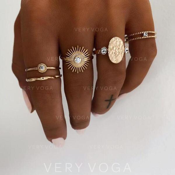 Egyedi Tökéletes Elegáns Ötvözet ékszer készletek Gyűrűk (5 pár készlet)