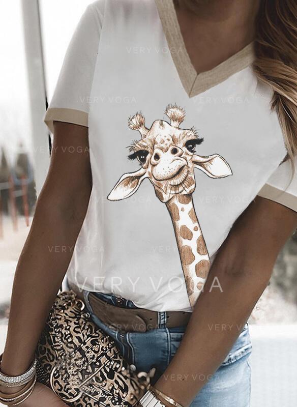 Αποτύπωμα ζώου V-nyak Rövidujjú Μπλουζάκια