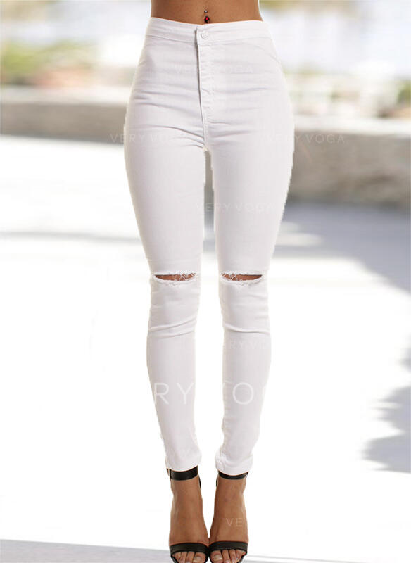 Shirred Ripped Long Elegant Sexy Plain Denim & Jeans