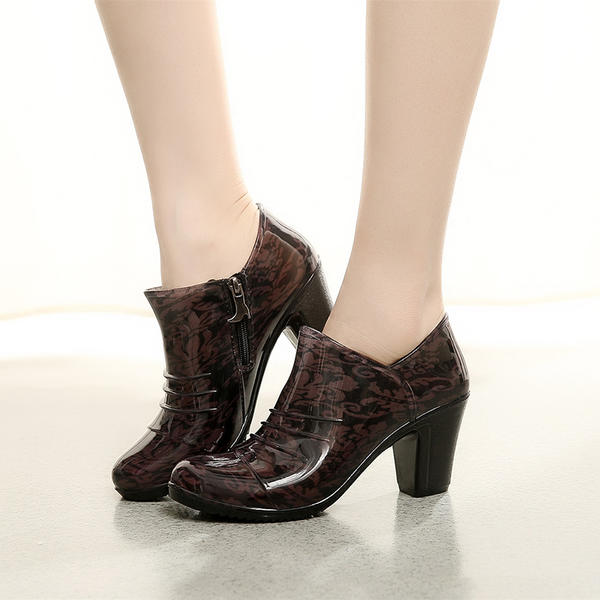 Women's PVC Chunky Heel Boots Ankle Boots Rain Boots With Animal Print Zipper shoes