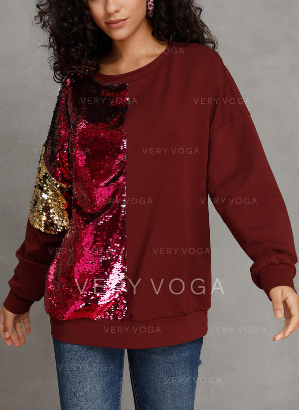 Polyester Color Block Sweatshirt