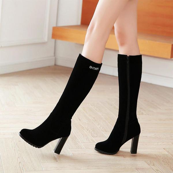 Mulheres Camurça Salto robusto Bombas Botas Bota no joelho com Zíper sapatos